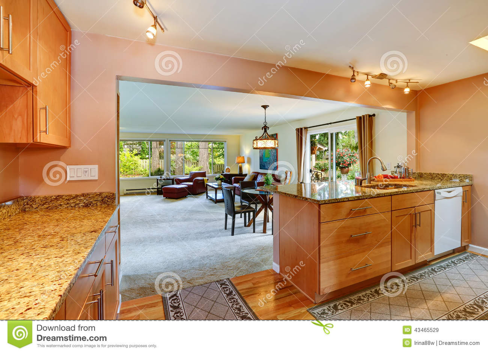 Huisbinnenland met open vloerplan keukengebied stock afbeelding