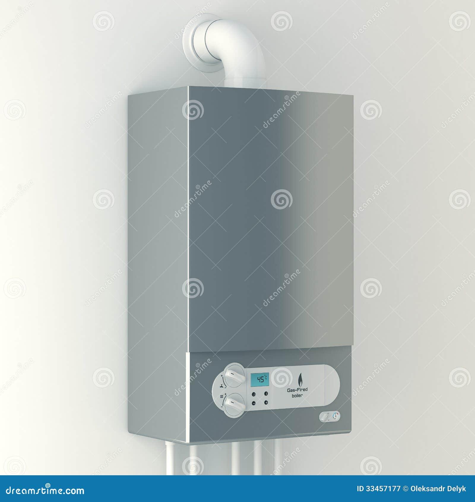 Huisboiler met gas. De installatie van gasmateriaal.