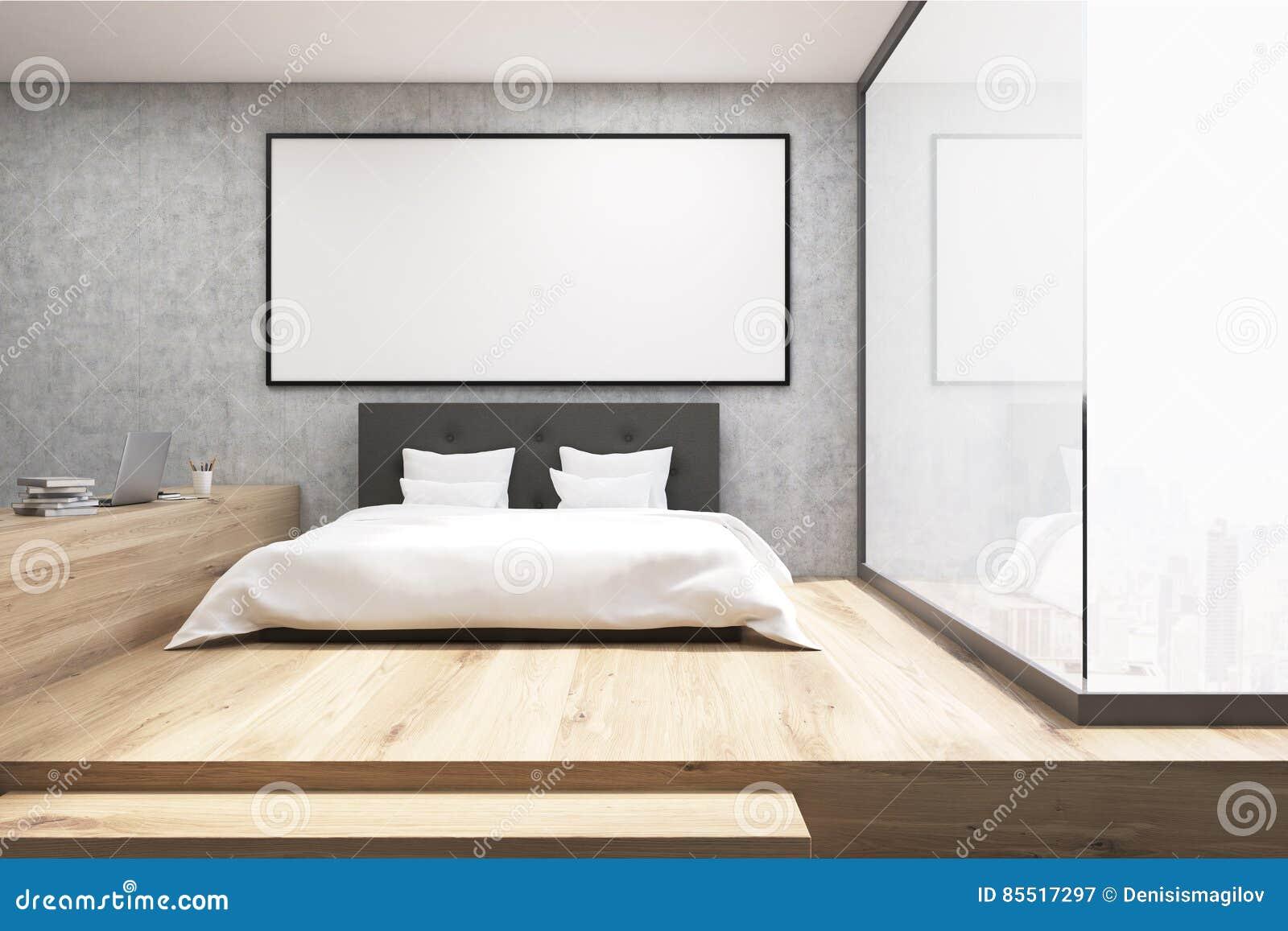 Houten Vloer Slaapkamer : Huisbureau met een houten vloer in een slaapkamer stock afbeelding
