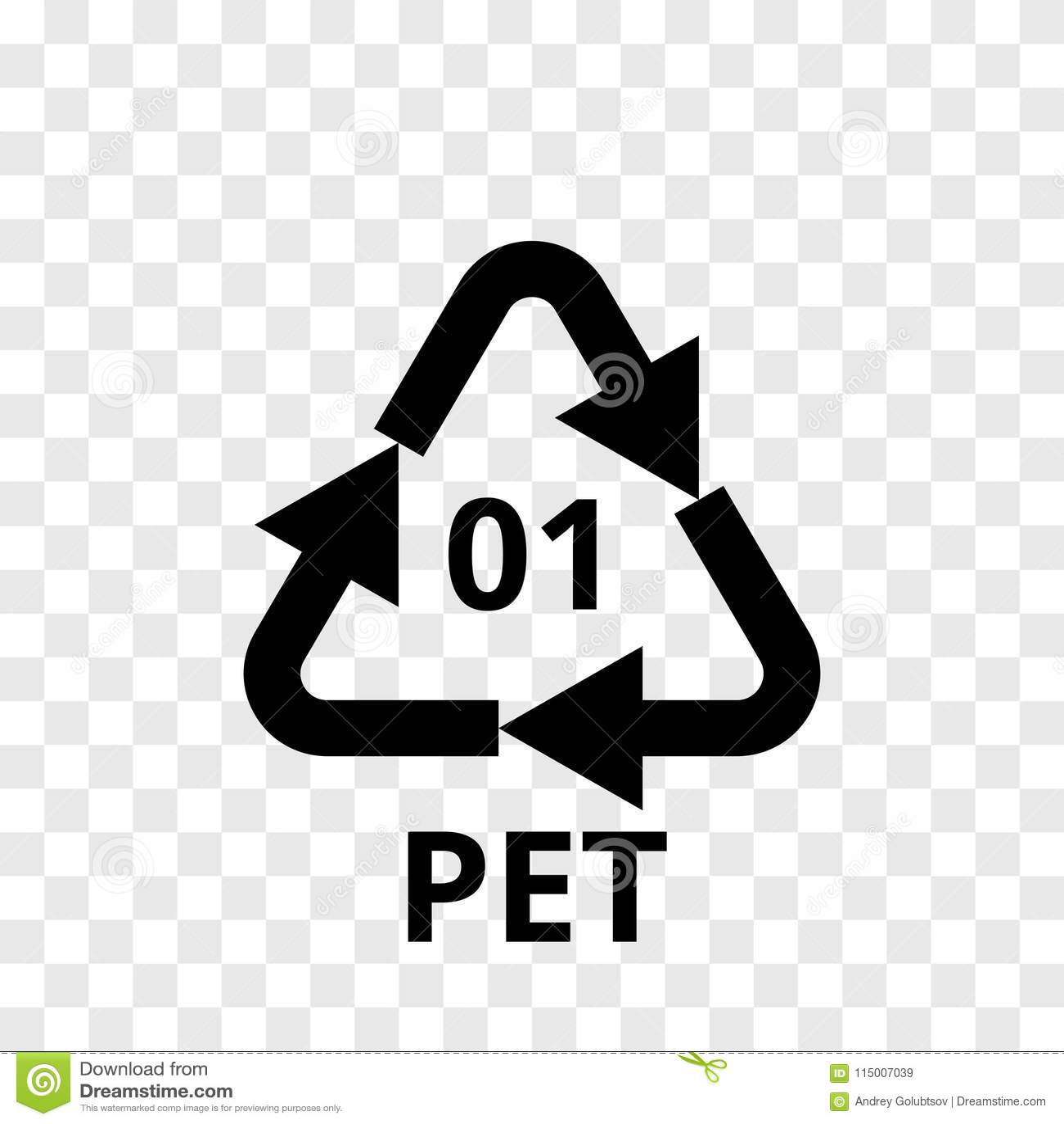 HUISDIER de pijlpictogram van de recyclingscode voor plastic polyestervezel, frisdrankenflessen De vector kringloop transparante
