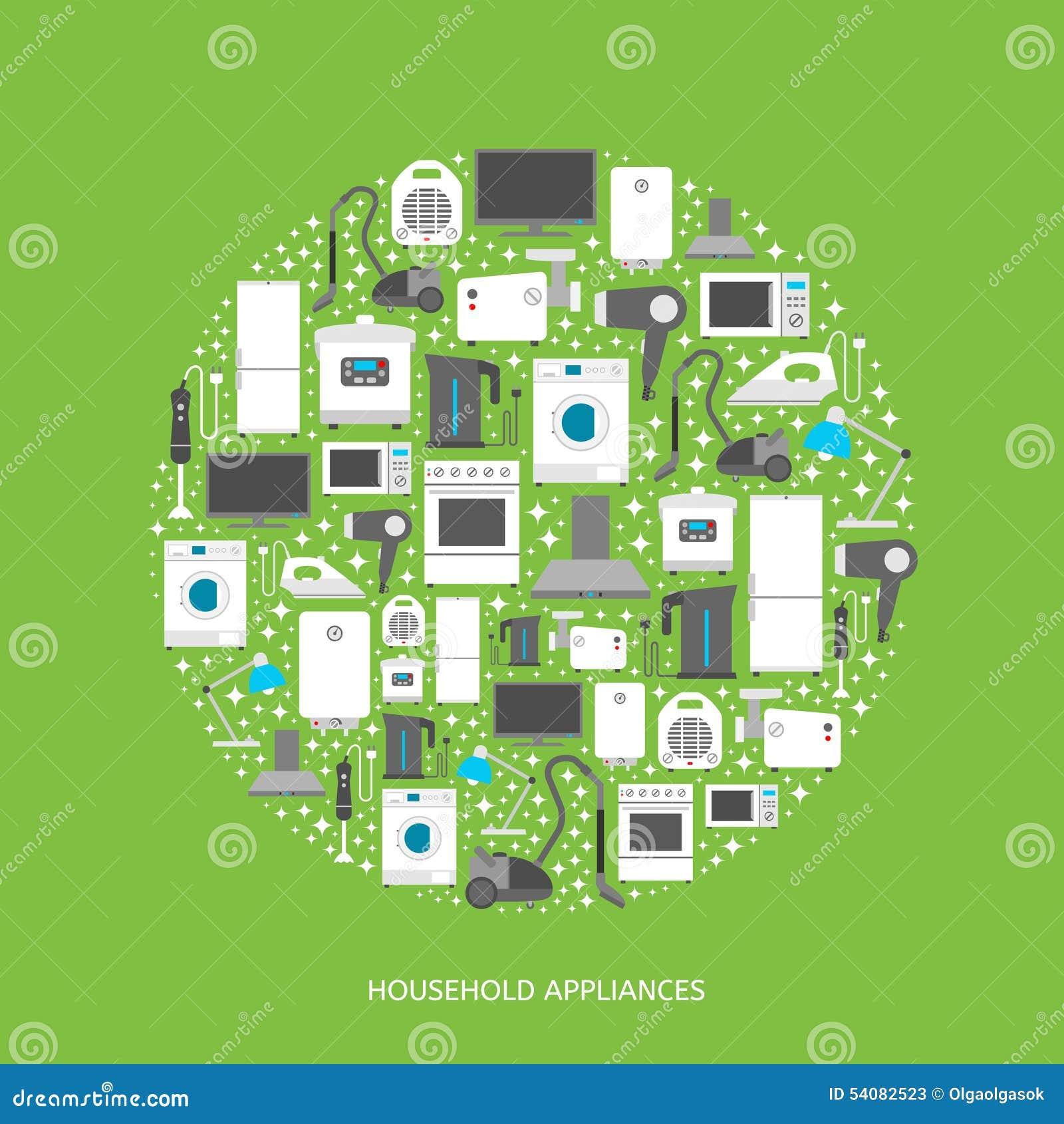Huishoudapparaten vlakke pictogrammen