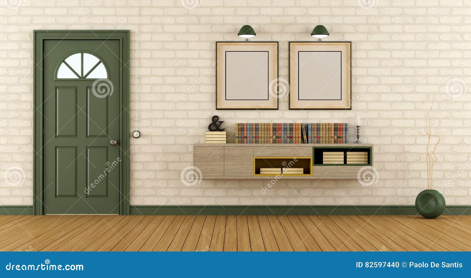 Huisingang met gesloten voordeur stock illustratie illustratie