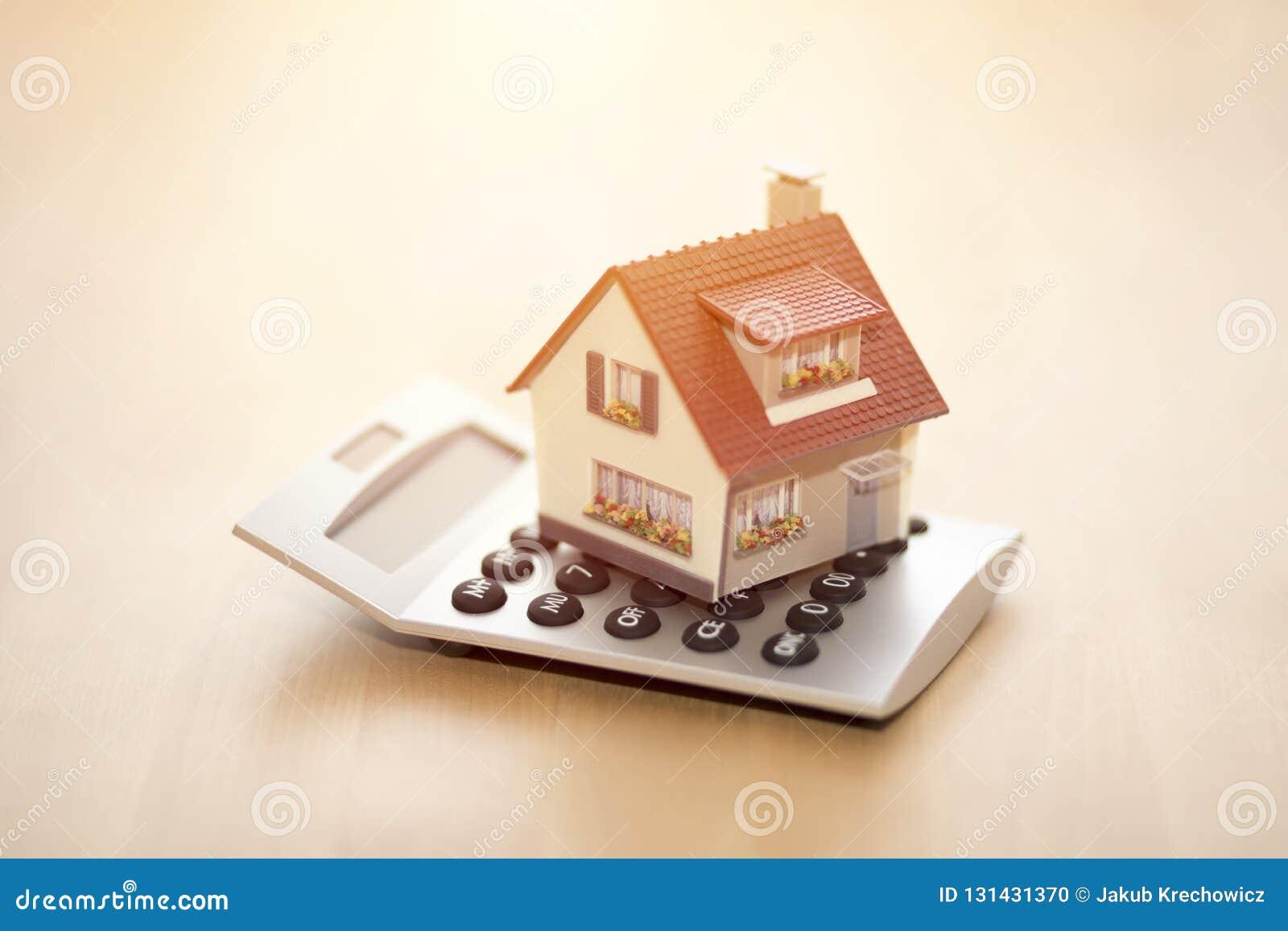 Huisminiatuur op calculator