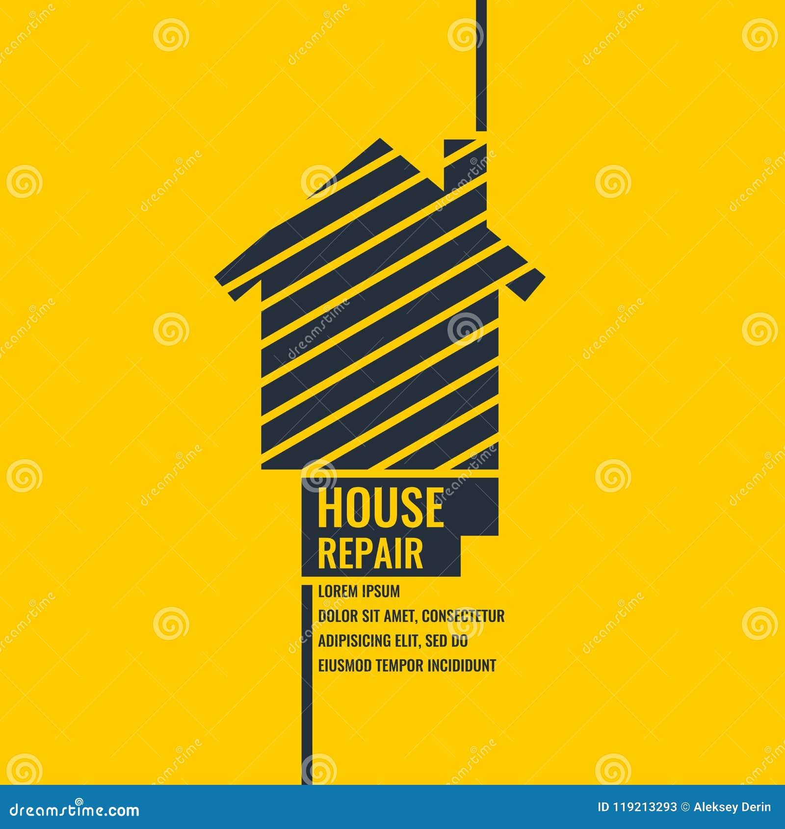 Huisreparatie De oorspronkelijke affiche in een vlakke stijl