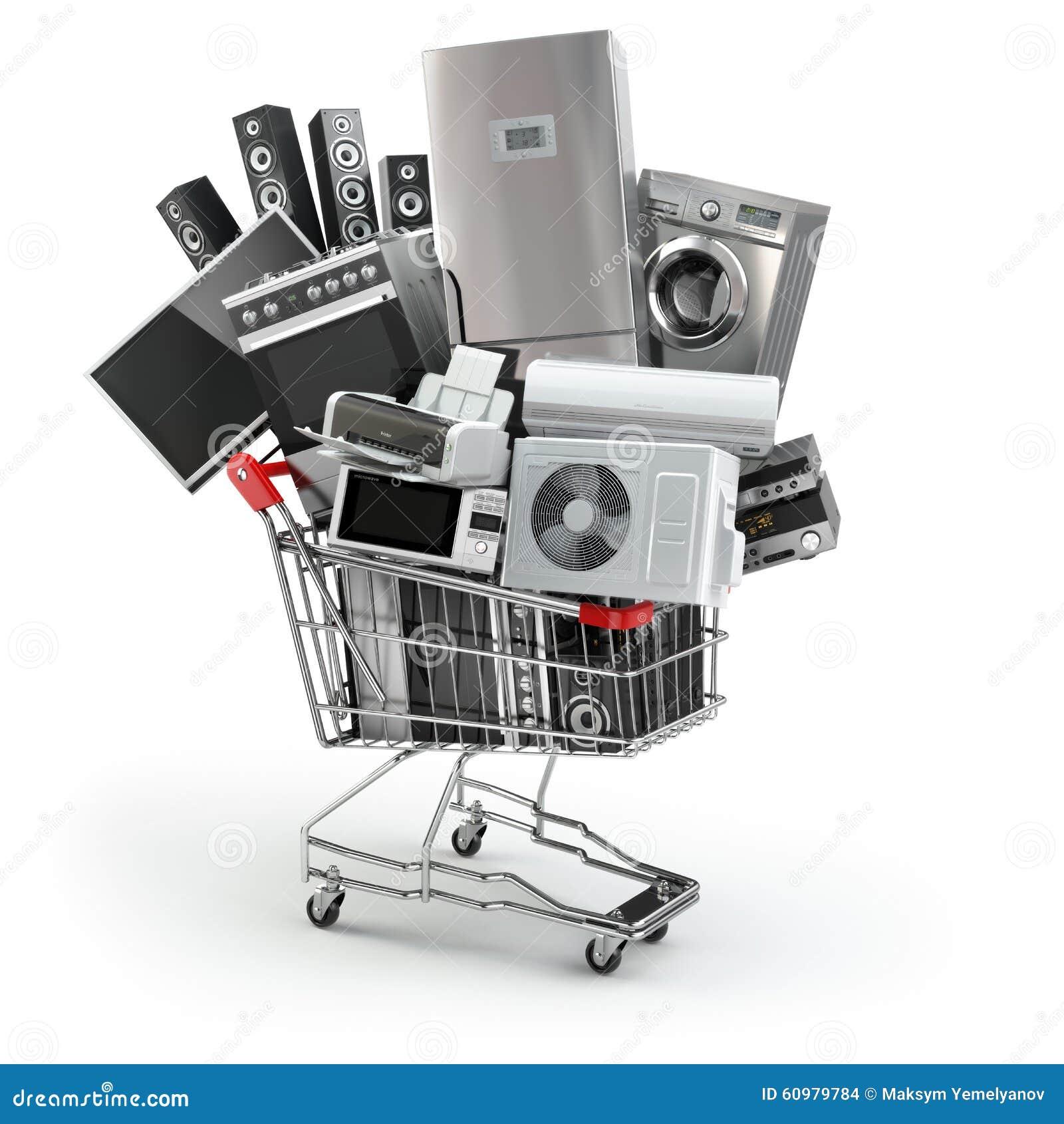 Huistoestellen in het boodschappenwagentje Elektronische handel of online shopp
