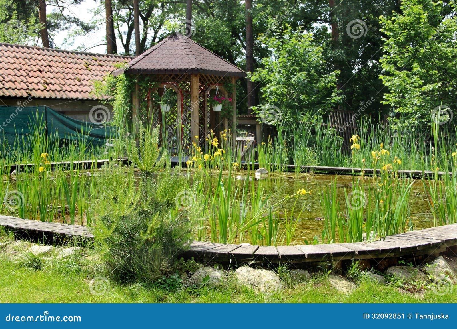 Huistuin met kleine vijver stock afbeelding afbeelding 32092851 - Tuin decoratie buitenkant ...