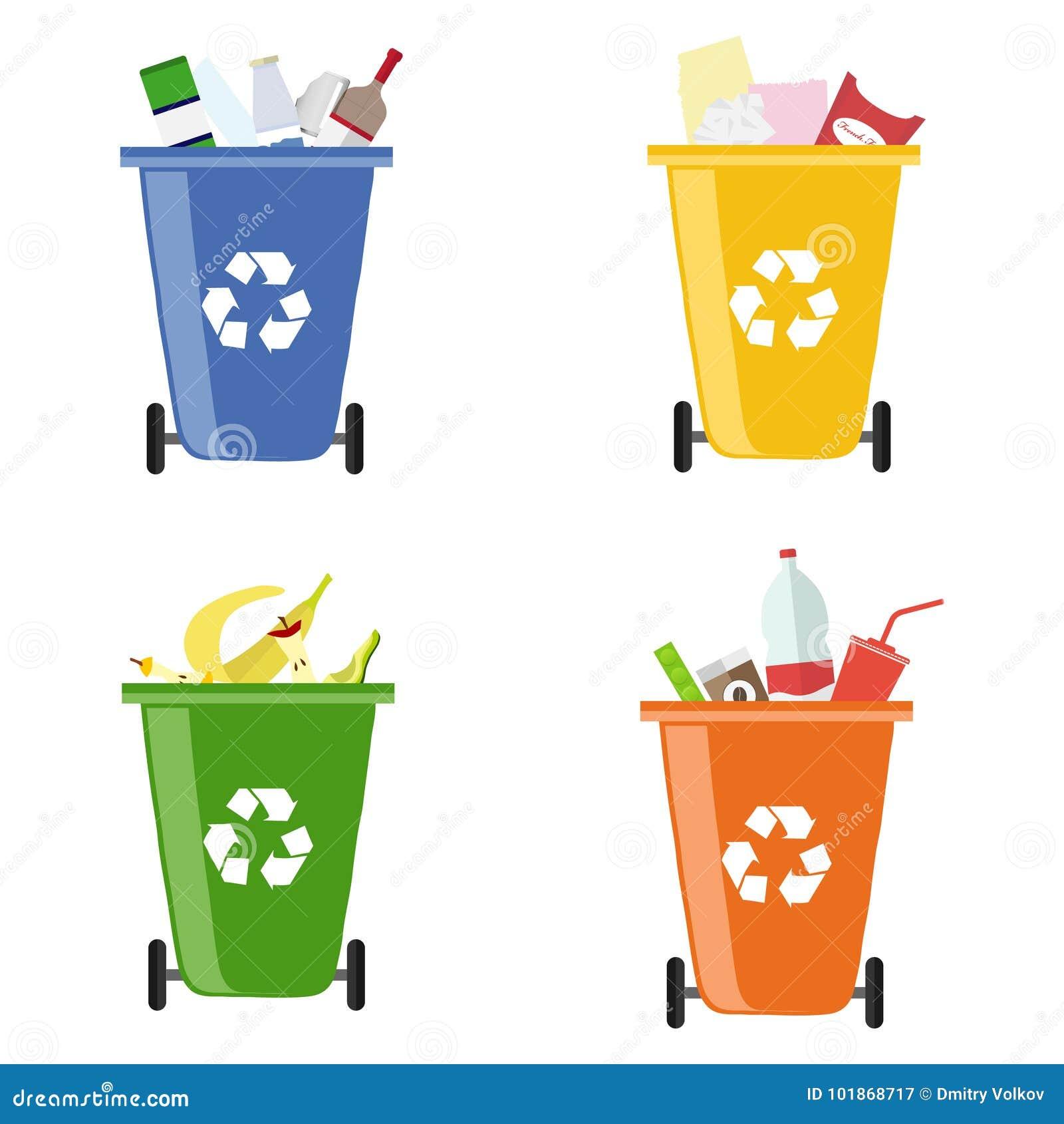 Huisvuilbakken Containers voor verschillend huisvuil Gescheiden inzameling van huisvuil