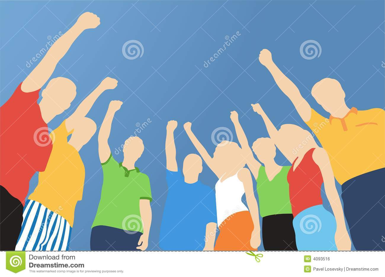 Huit amis avec la main vers le haut
