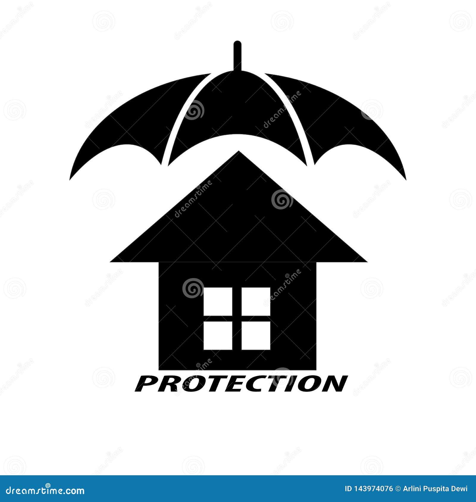 Huizen en paraplu s die bescherming voor het huis symboliseren