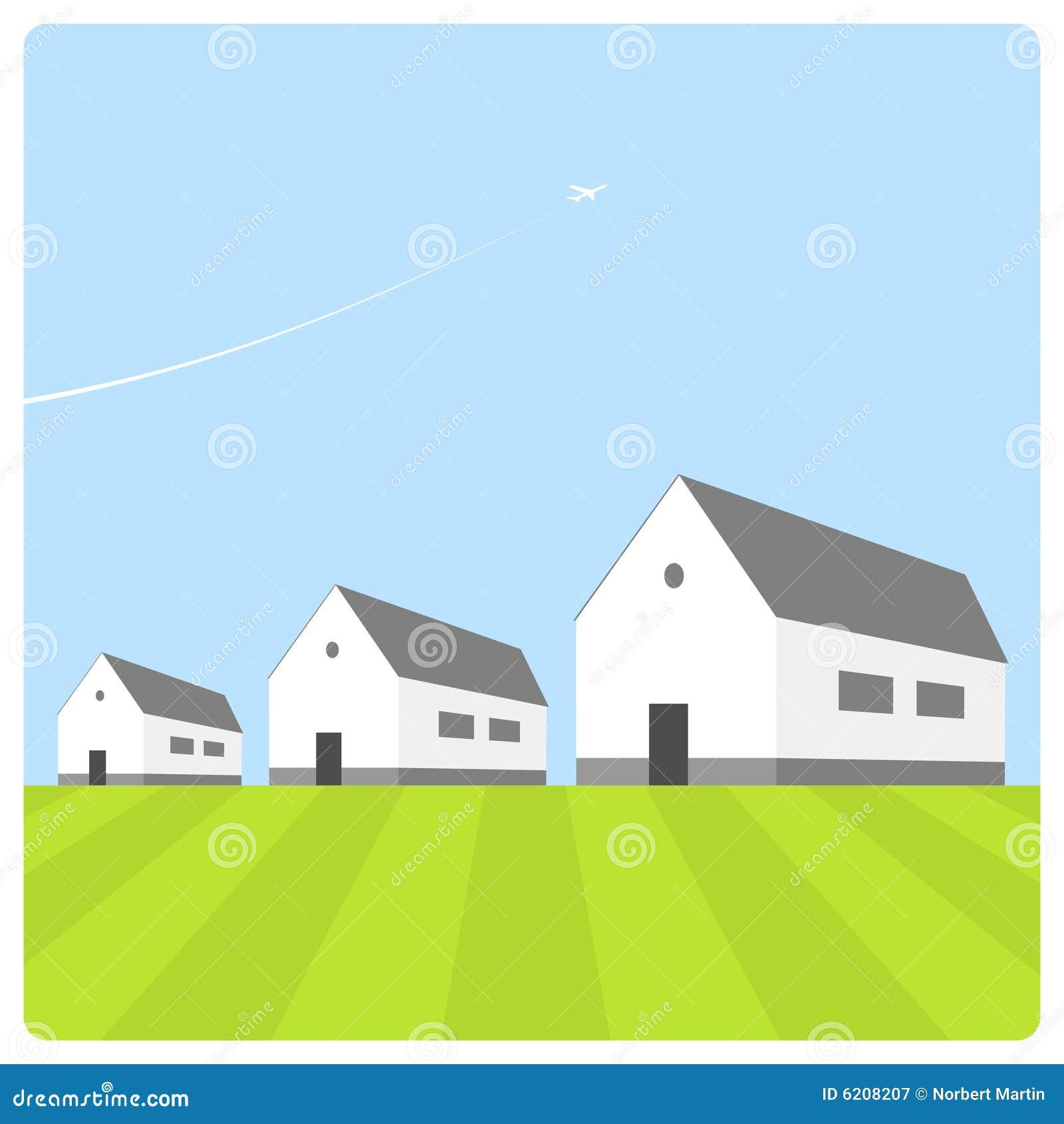Huizen met blauwe hemel