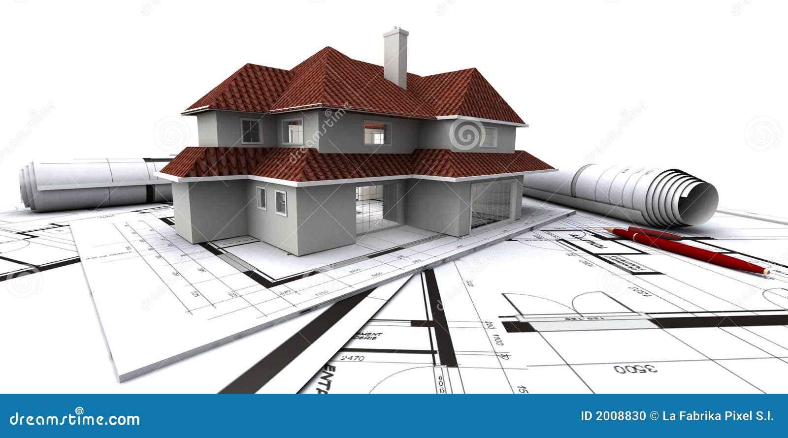 Huizen op het plan van de architect stock foto afbeelding