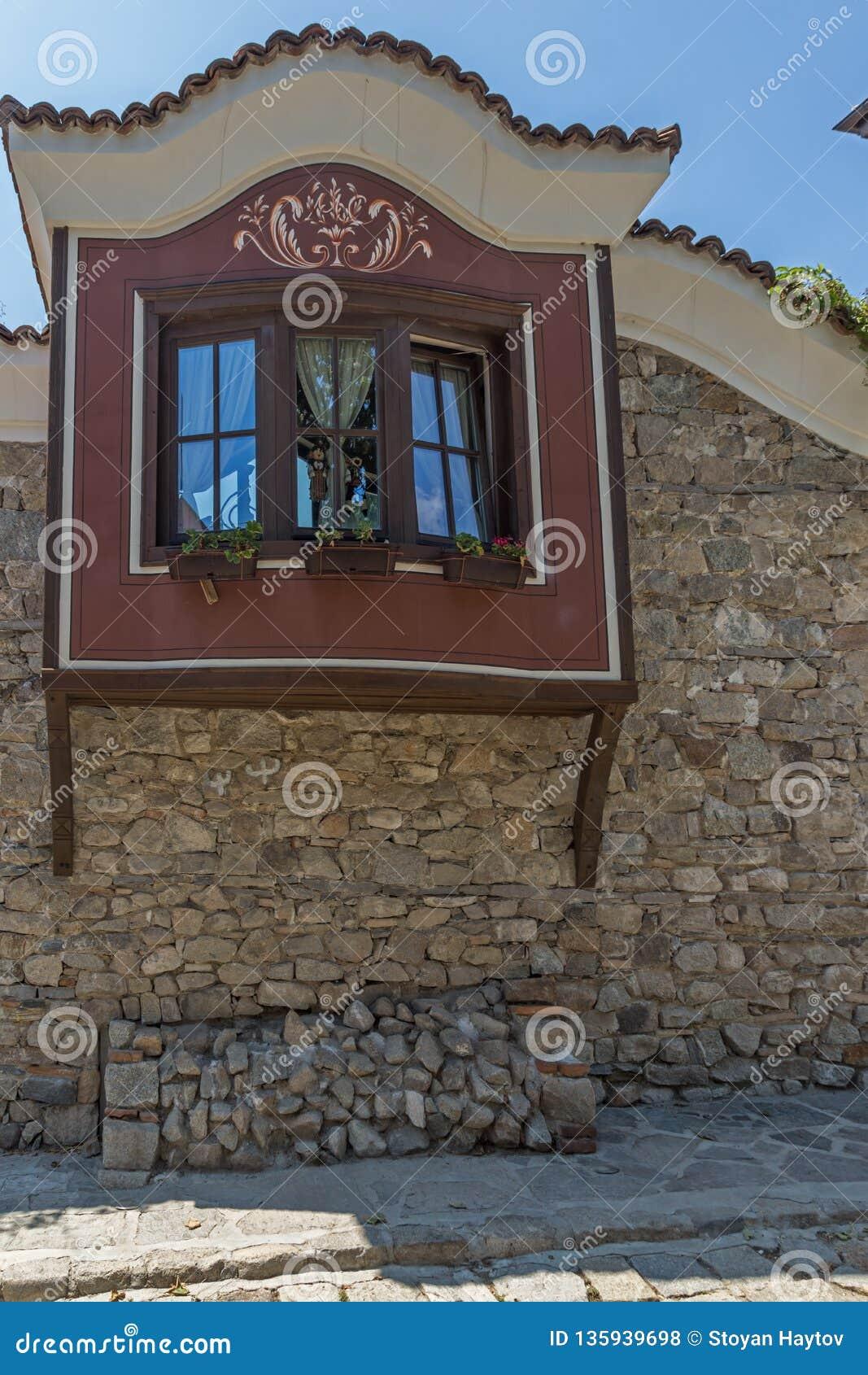Huizen van de 19de eeuw in oude stad van stad van Plovdiv, Bulgarije