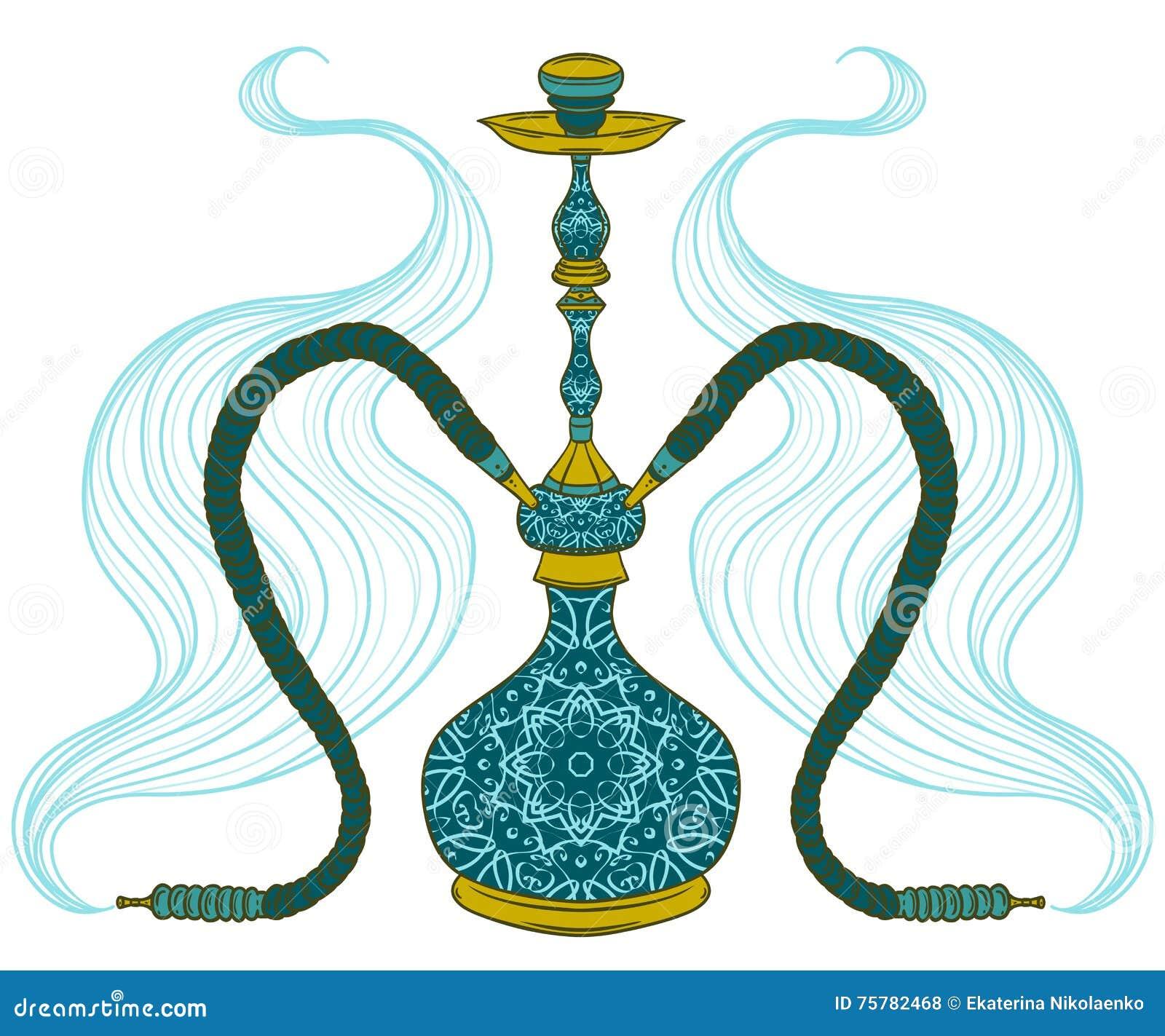 Huka mit arabischem Muster und Rauche