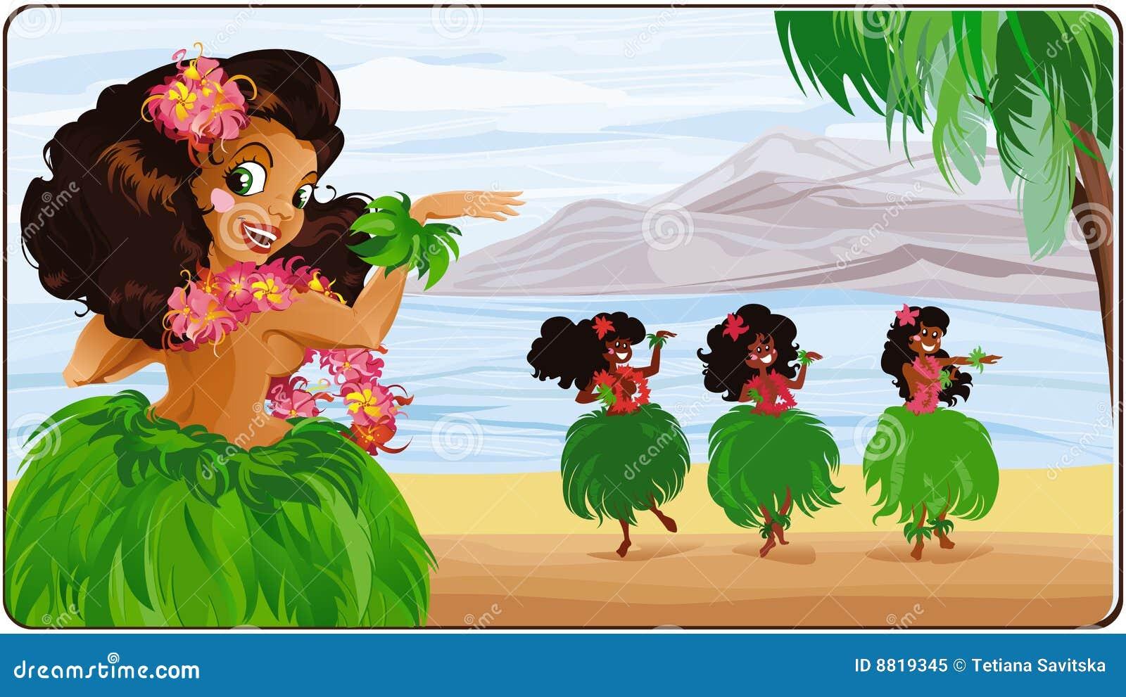 Hula Гавайских островов танцора