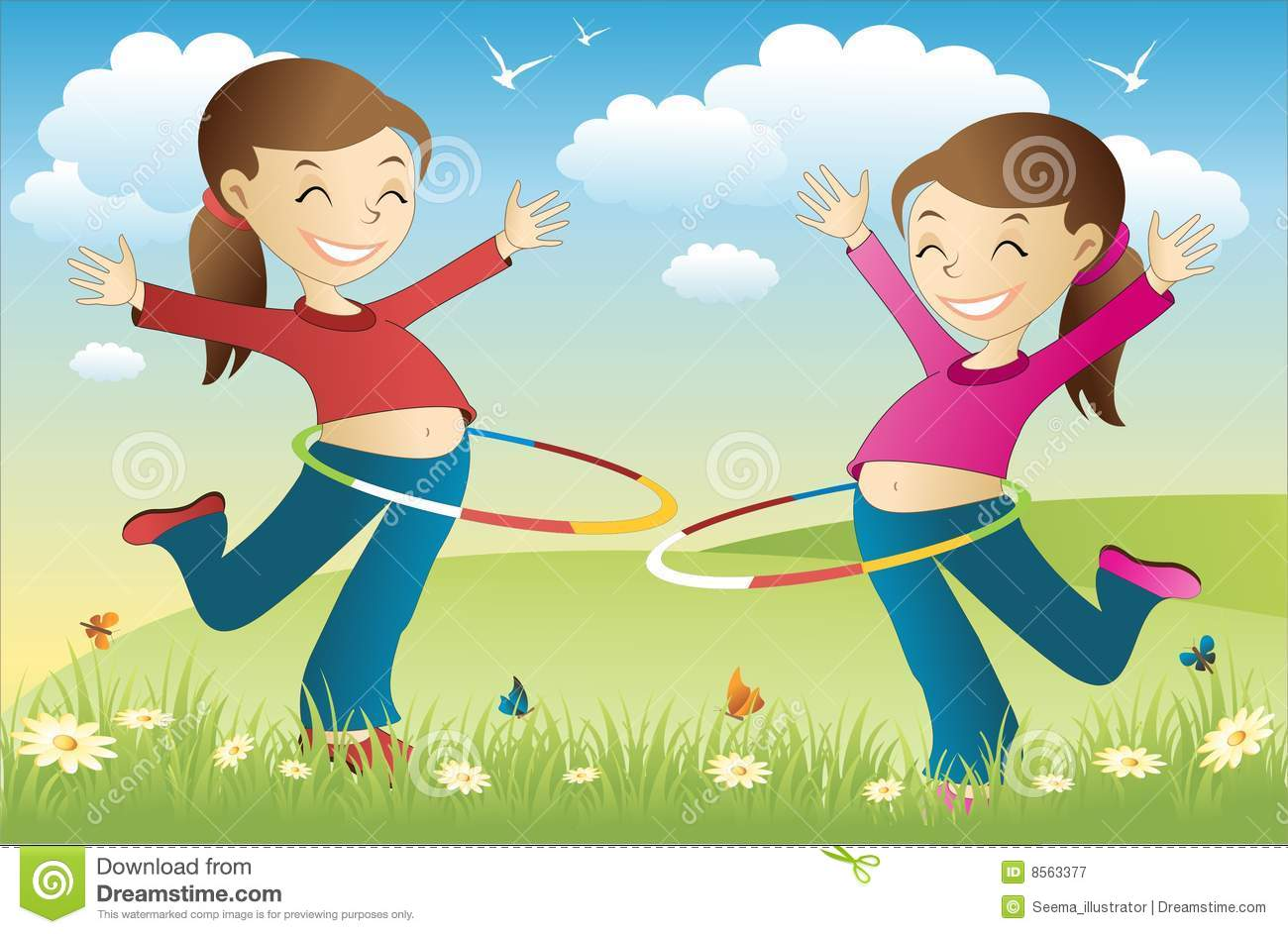 Hula Hoop Twins Royalty Free Stock Photography - Image: 8563377