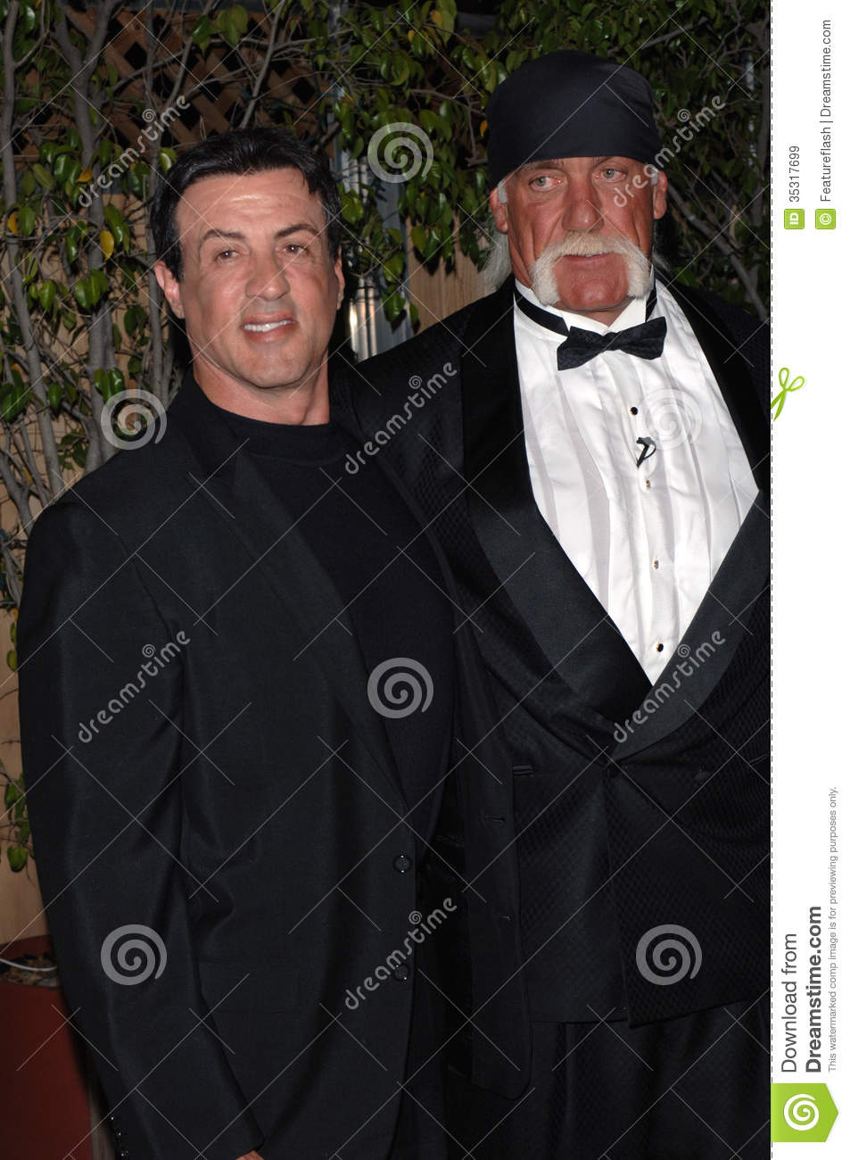 Actor SYLVESTER STALLONE (left) with wrestler/actor HULK HOGAN at ...