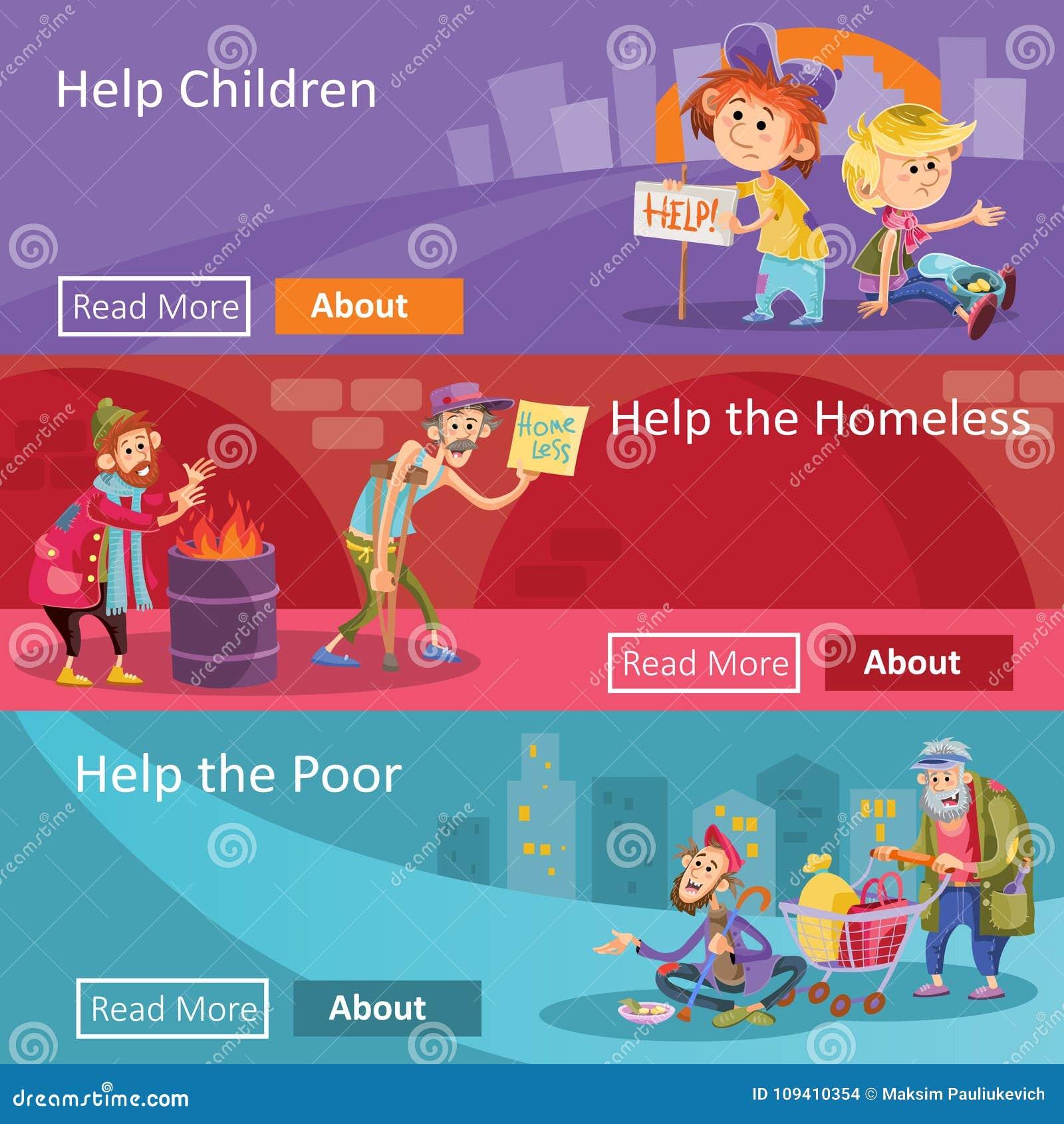 Hulp voor daklozen en armen de vectorbanners van het illustratieweb voor sociale liefdadigheidsproject of organisatie