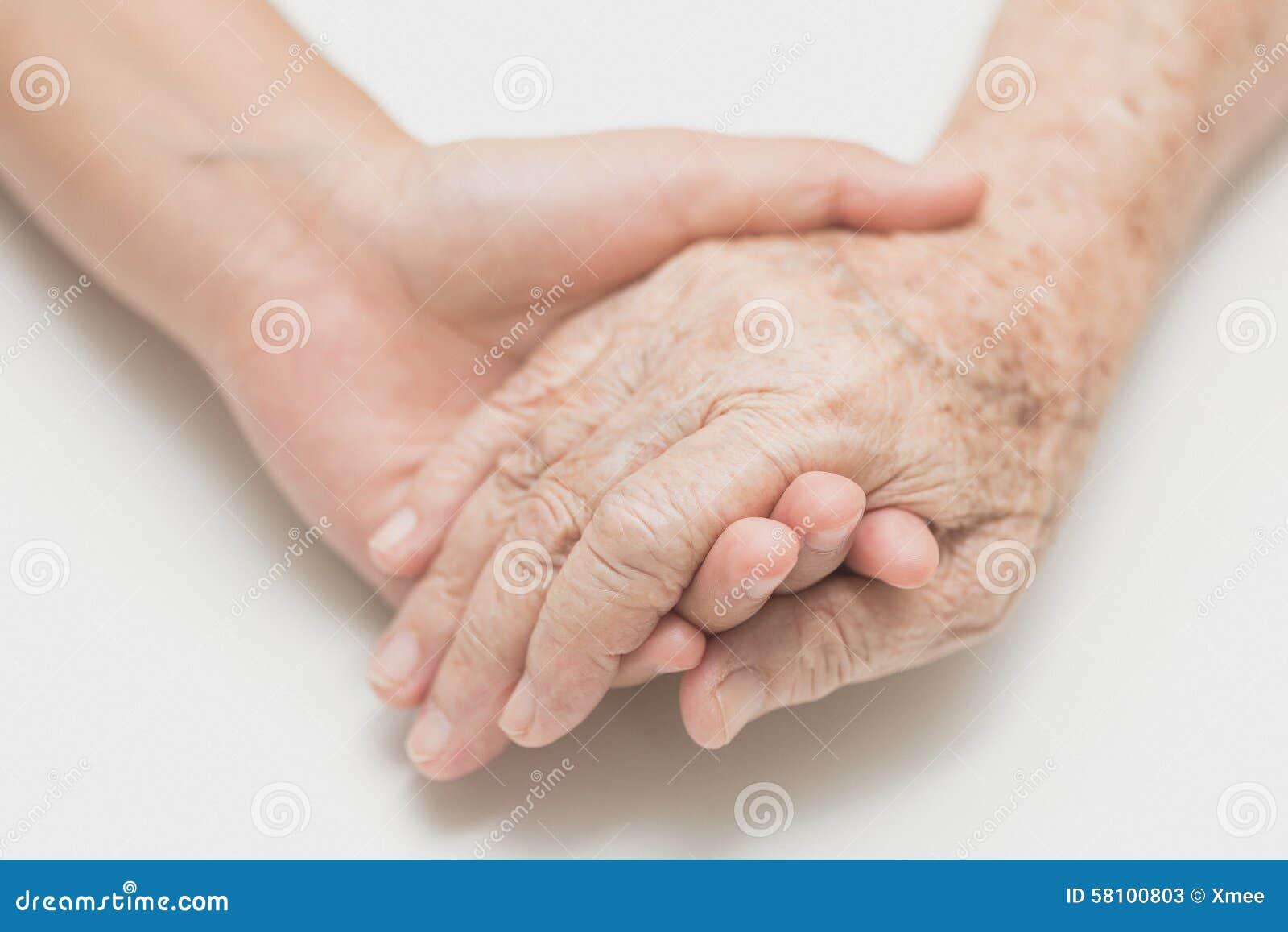 Hulpconcept, de helpende handen voor bejaarde thuiszorg