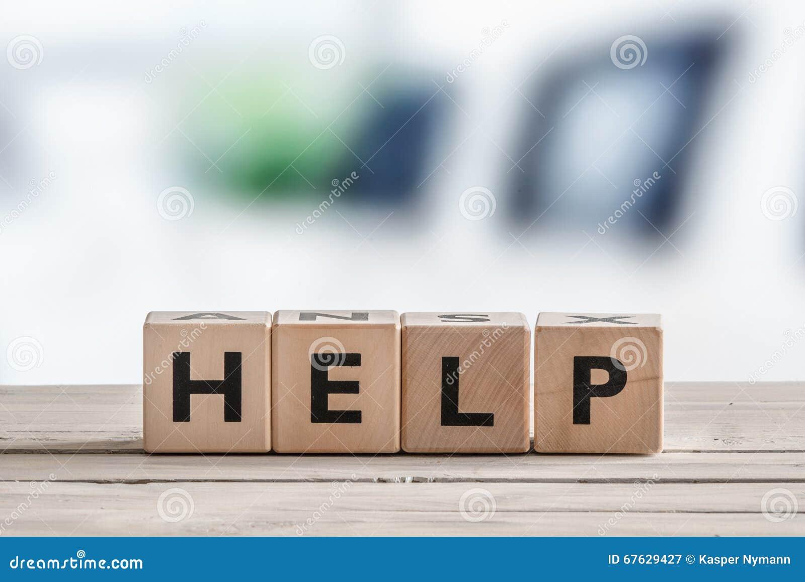 Hulpteken op een houten lijst