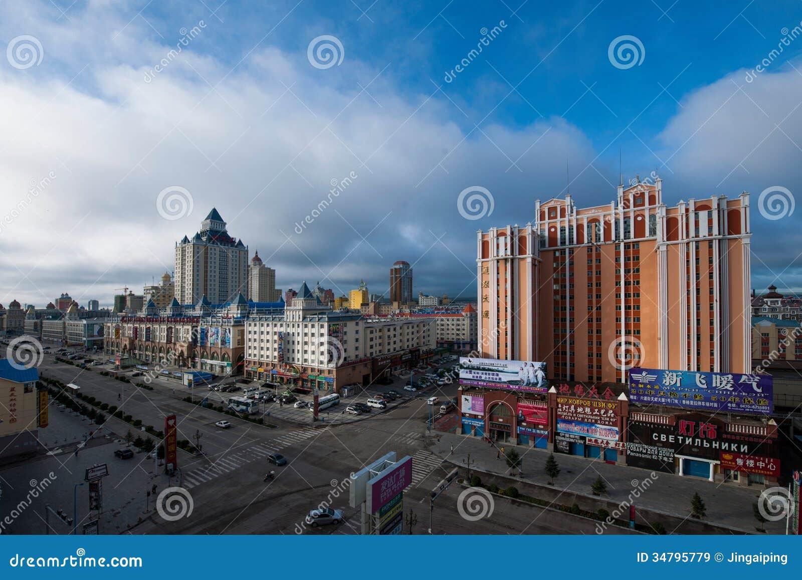 hulunbeier manchuria streetscape editorial stock image