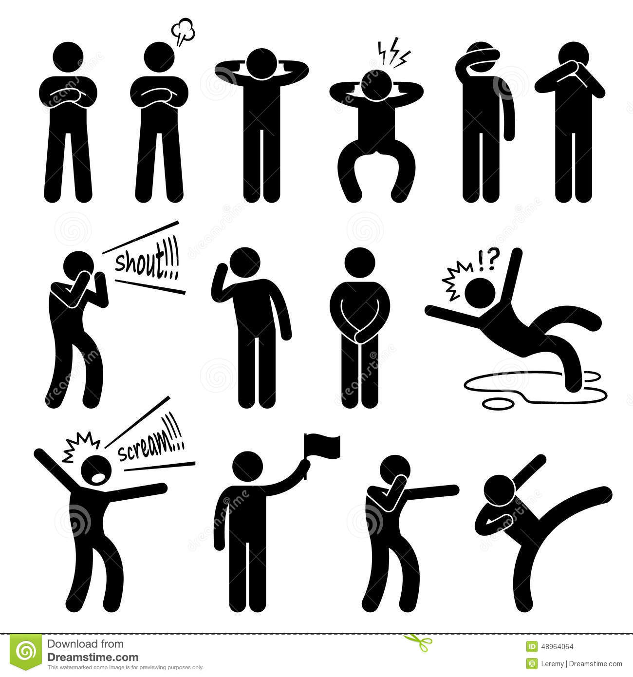 Human Action Poses Postures Icons Stock Vector Image