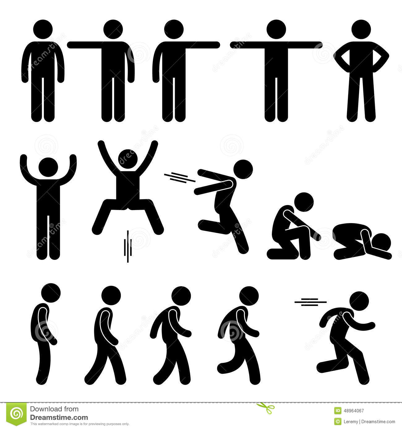 set of human pictogram representing basic human poses such as ...