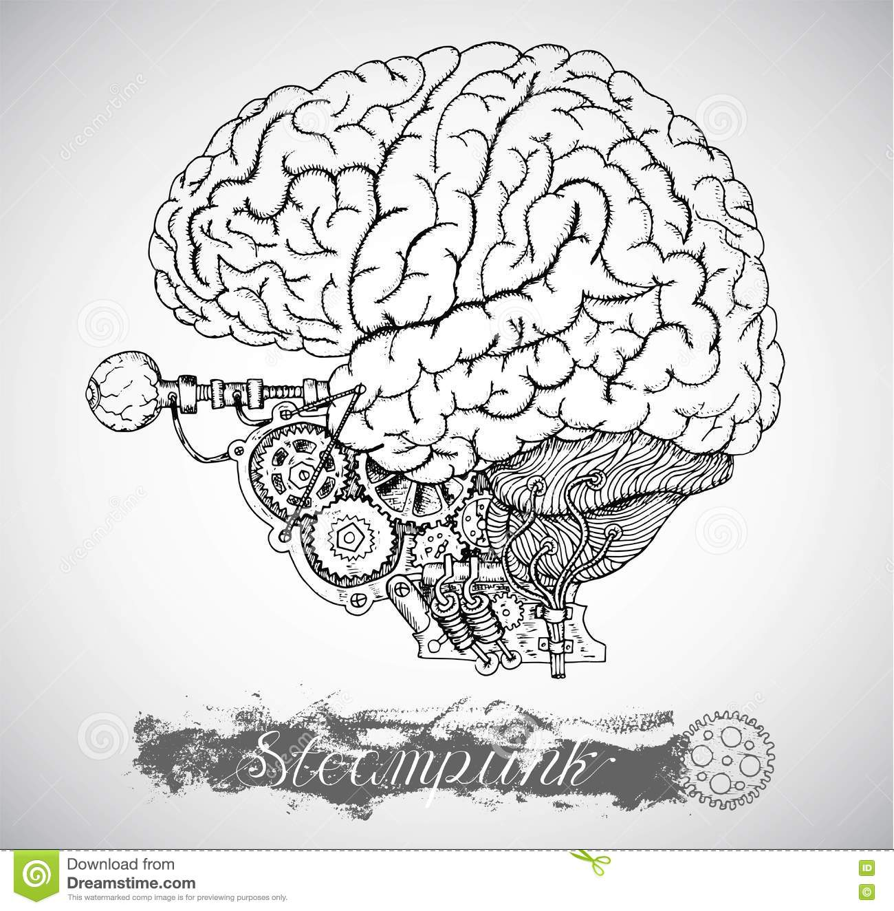 Human Anatomy Brain With Vintage Mechanism In Steampunk Style Stock ...