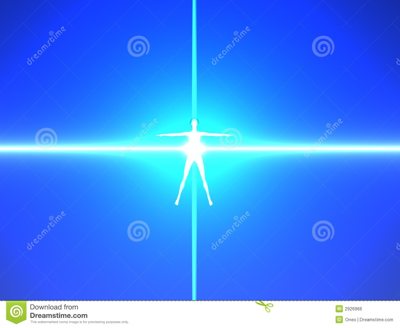 Human body in blue power rays