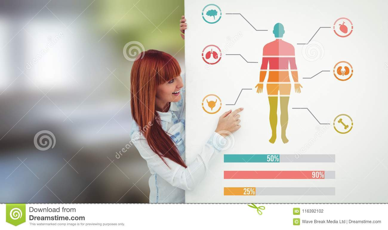 Human Body Chart And Statistic Bar Charts With Woman Holding Card