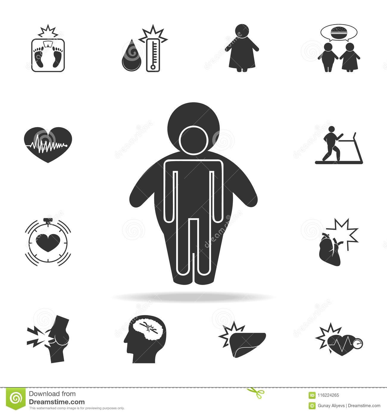 Human Body In An Obese Shell Icon Detailed Set Of Obesity Icons