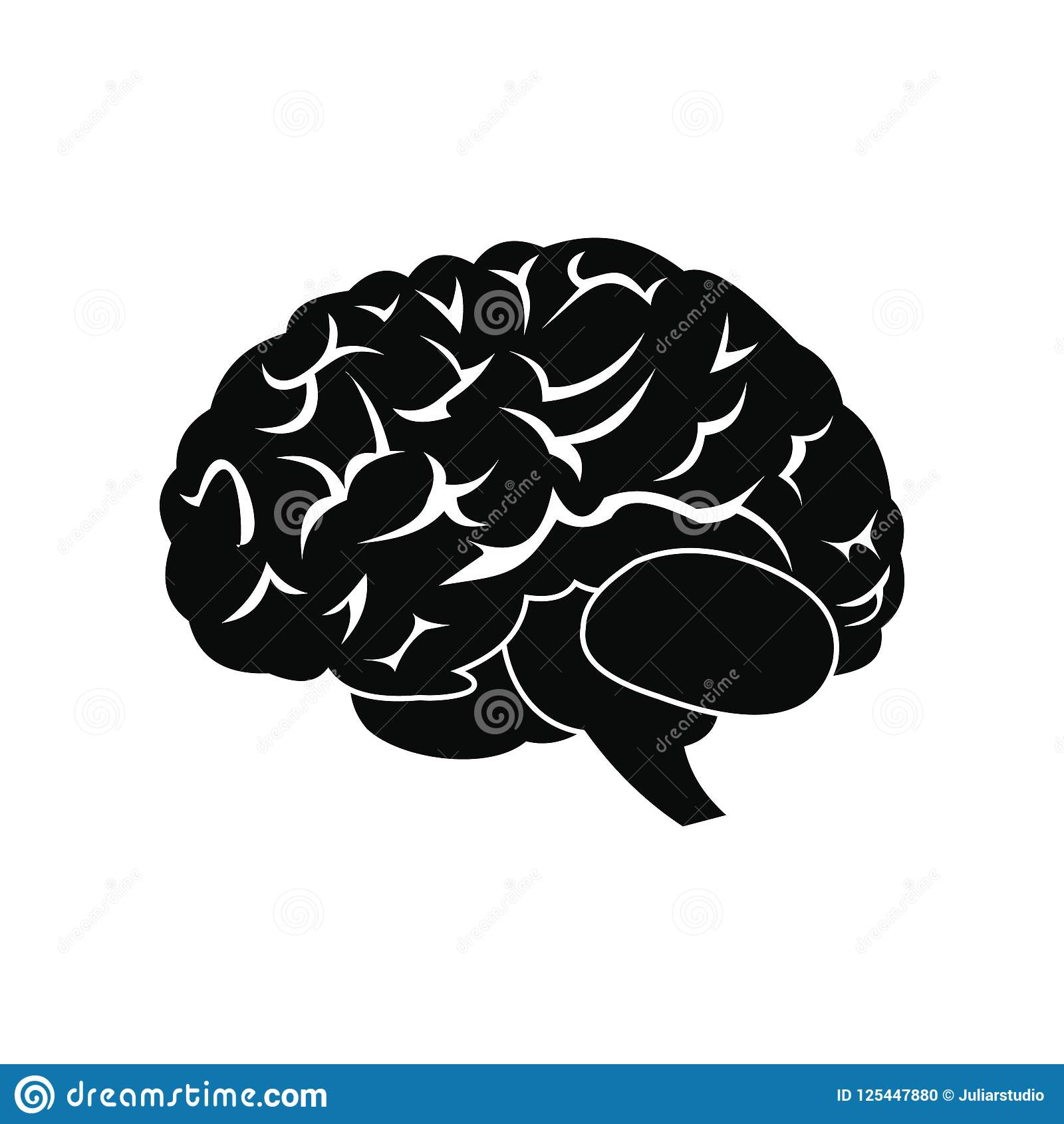 Human brain black icon stock illustration  Illustration of