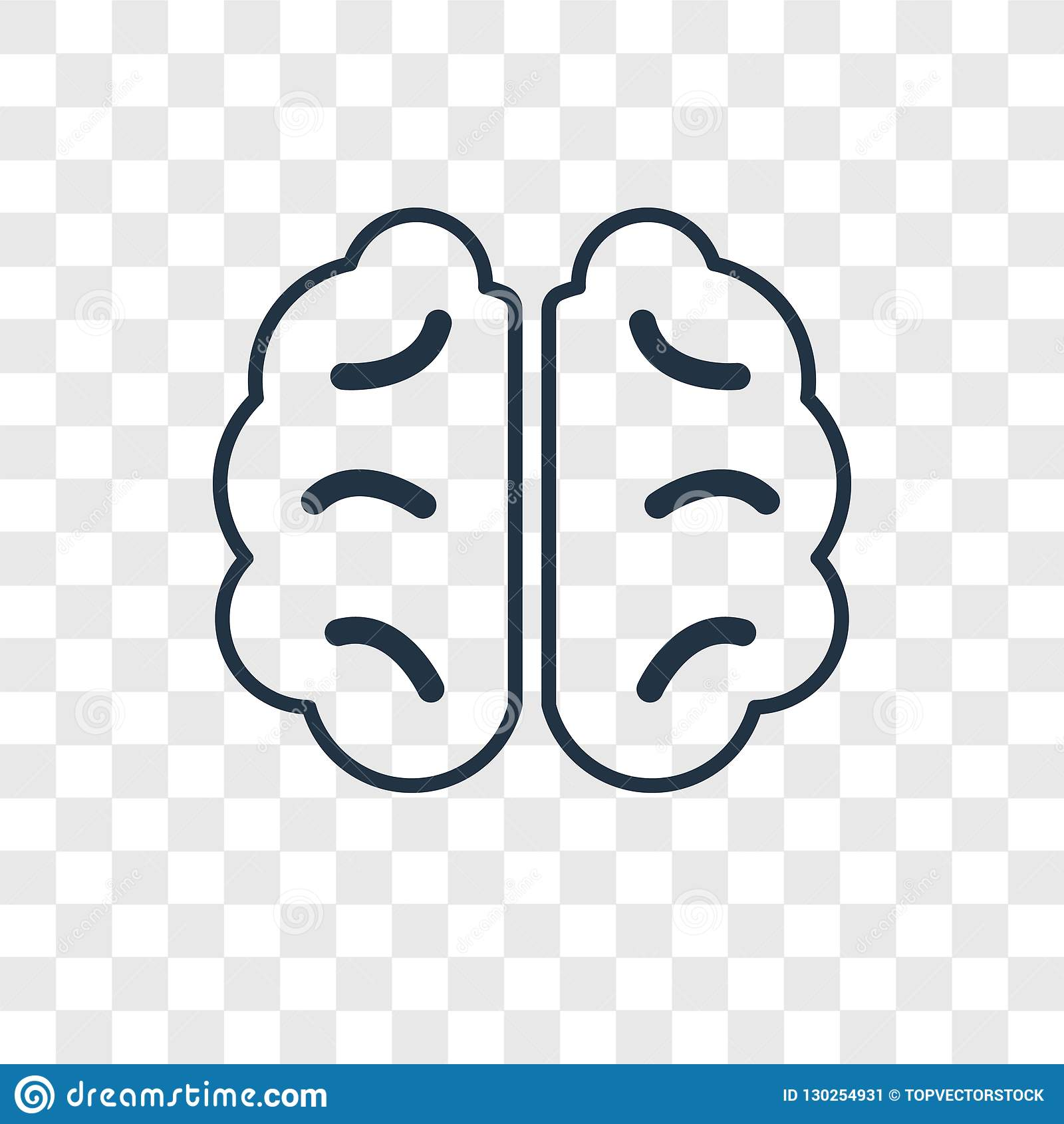 Human Brain concept vector linear icon isolated on transparent b