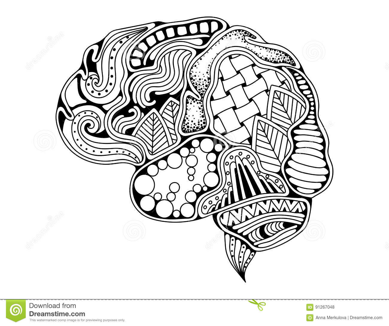 Human Brain Doodle Decorative Curves Creative Mind Stock