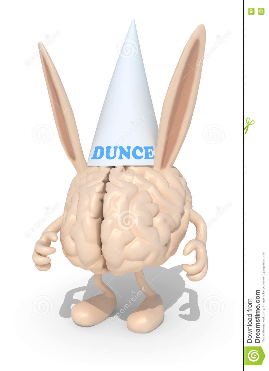 Human brain with dunce ears and hat