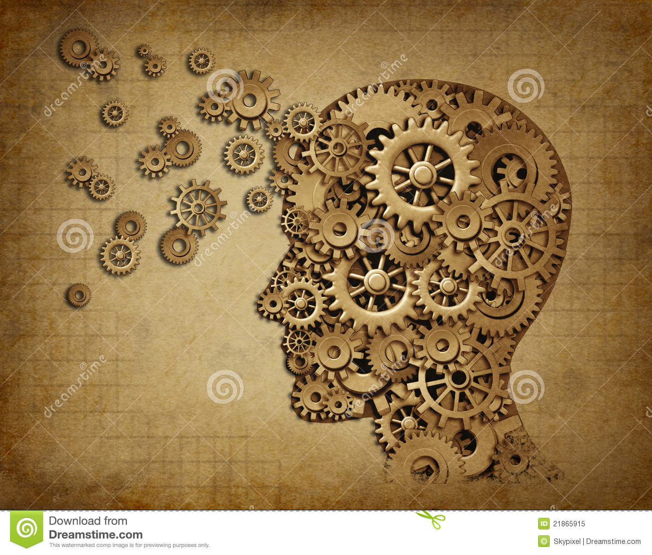Human Brain Function Grunge With Gears Stock Illustration ...