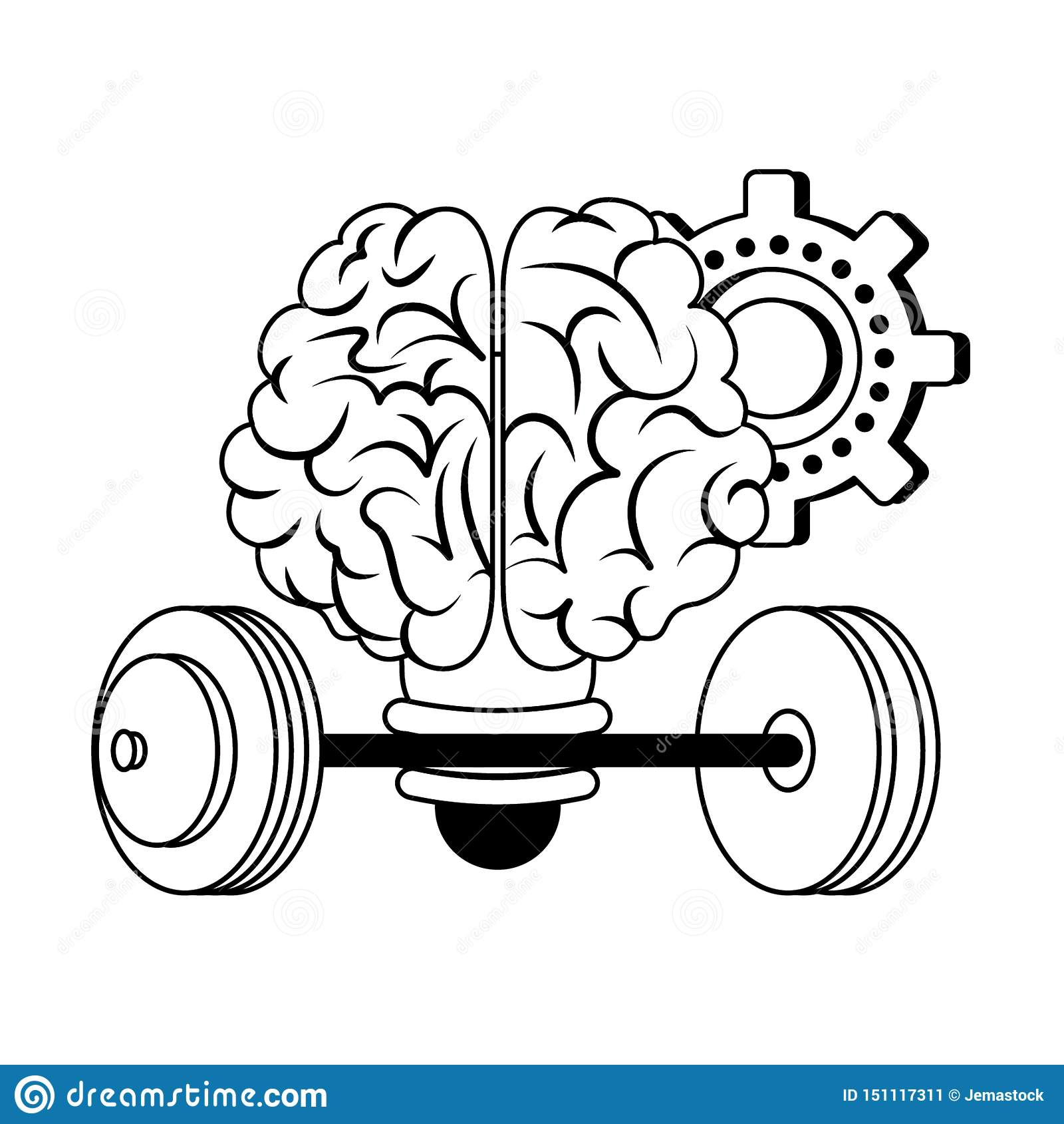 Human brain intelligence and creativity cartoons in black and white