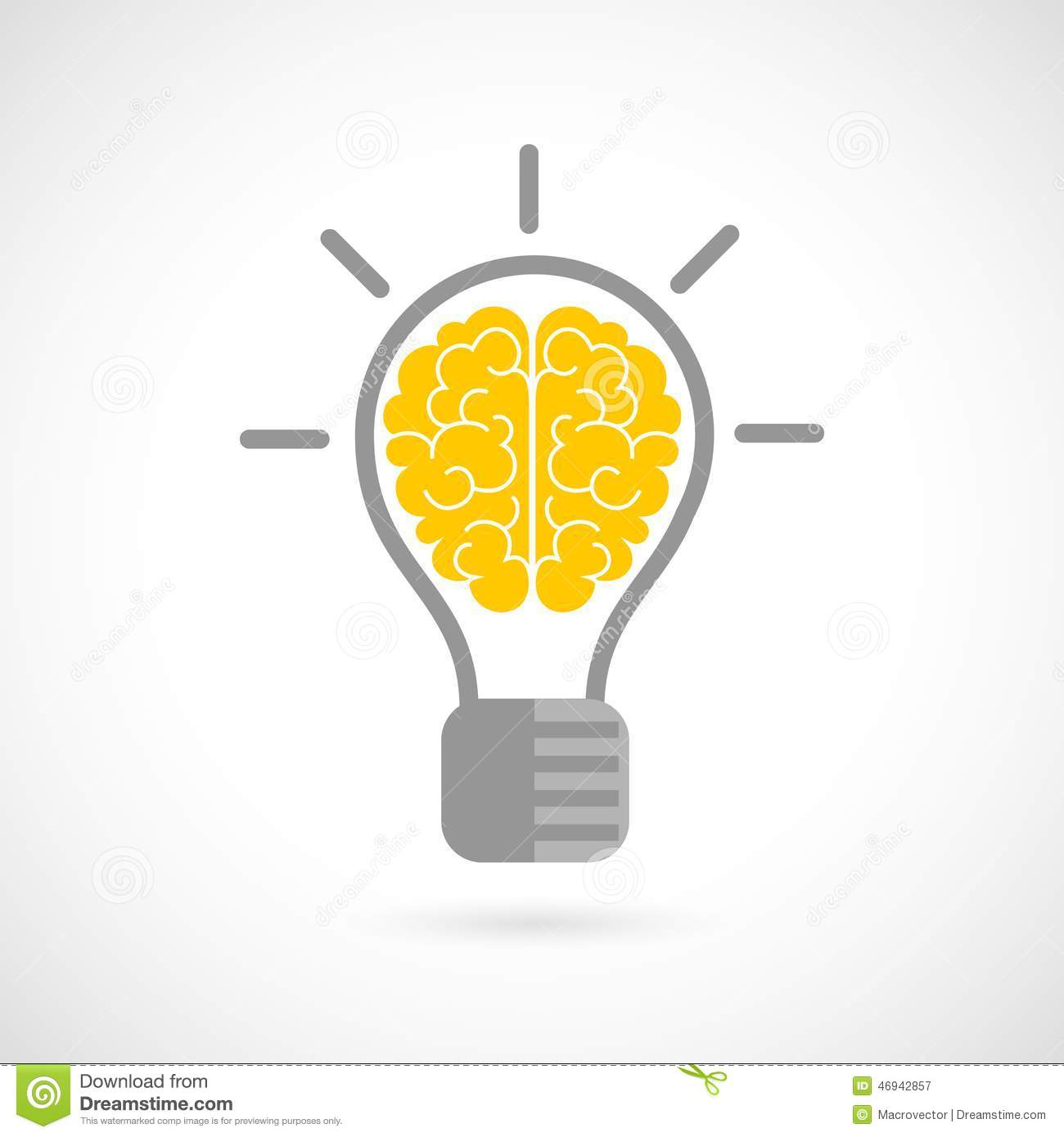 Human Brain In Lightbulb Flat Stock Vector Illustration