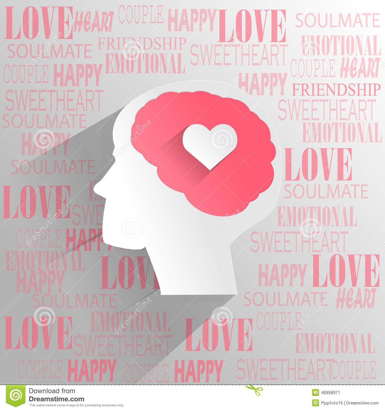 Human Brain With Love Emotion Thinking Stock Vector  : human brain love emotion thinking paper cut style 46958971 from www.dreamstime.com size 1300 x 1390 jpeg 169kB
