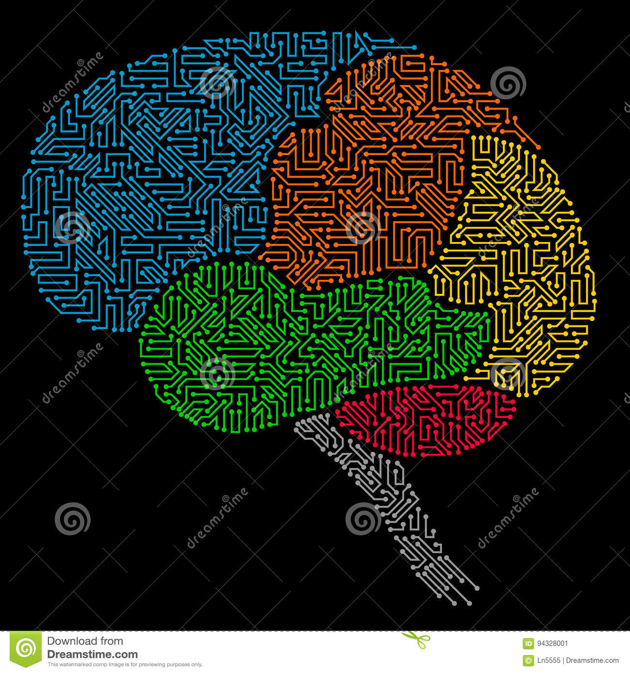 Human brain with multicolored circuit board elements stock vector download comp ccuart Gallery