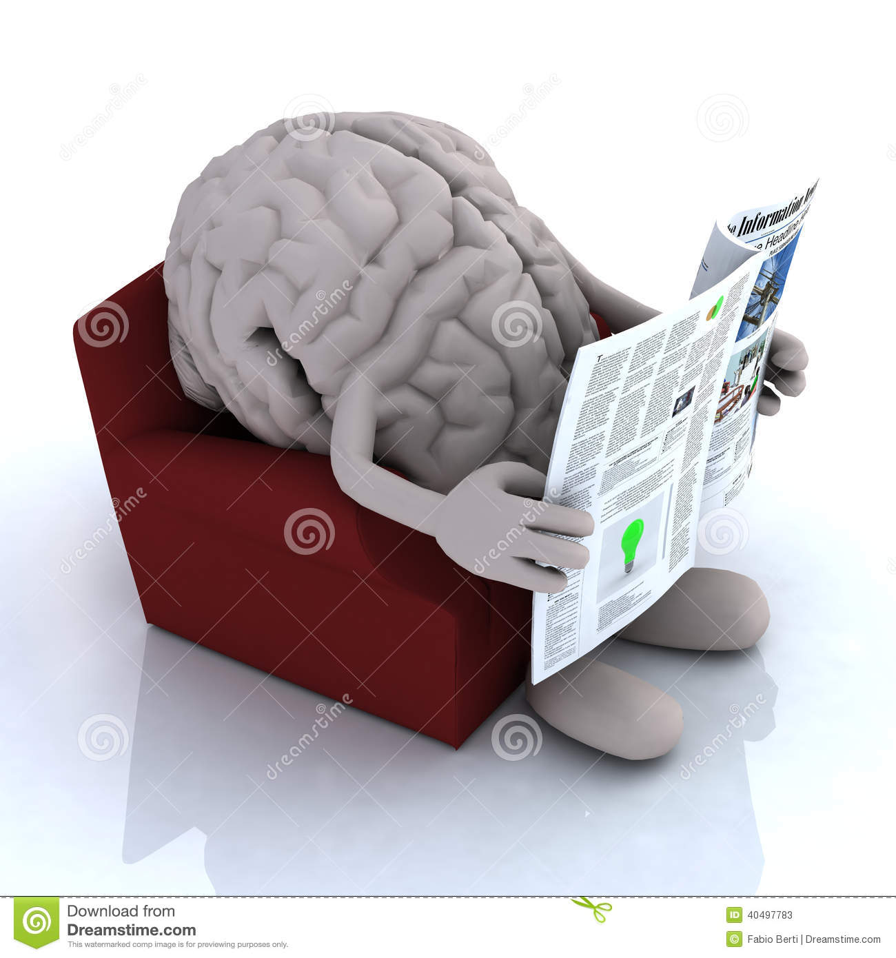 Human Brain Reading A Newspaper From The Couch Stock