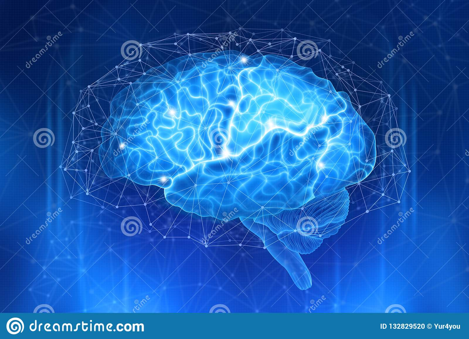 Human brain is surrounded by a network of polygons on a dark blue background