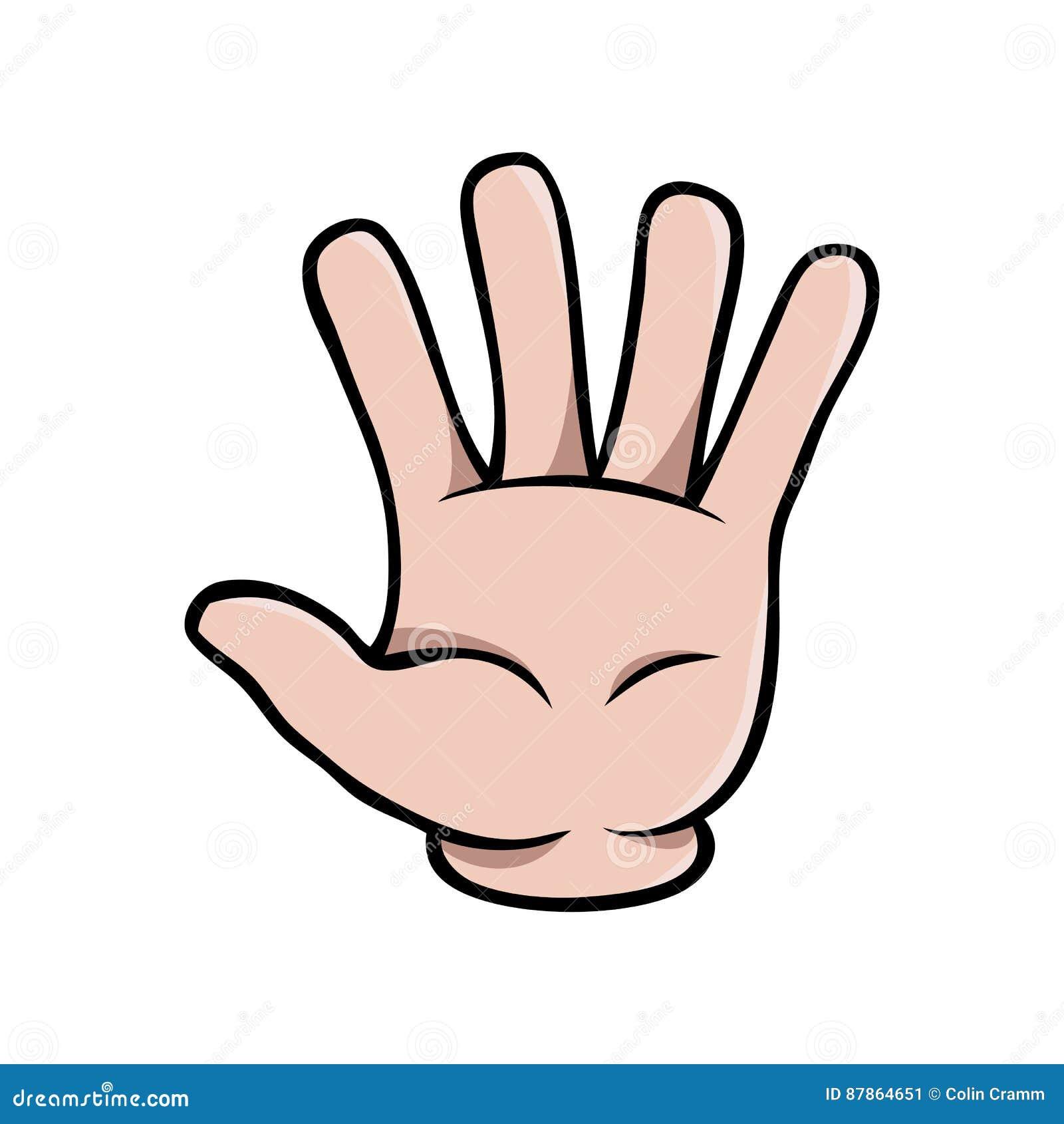 Cartoon Characters 3 Fingers : Human cartoon hand showing five fingers stock vector