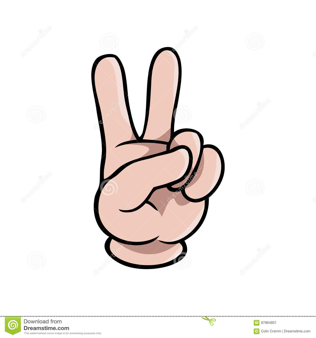 Human Cartoon Hand Showing Two Fingers Stock Vector Illustration