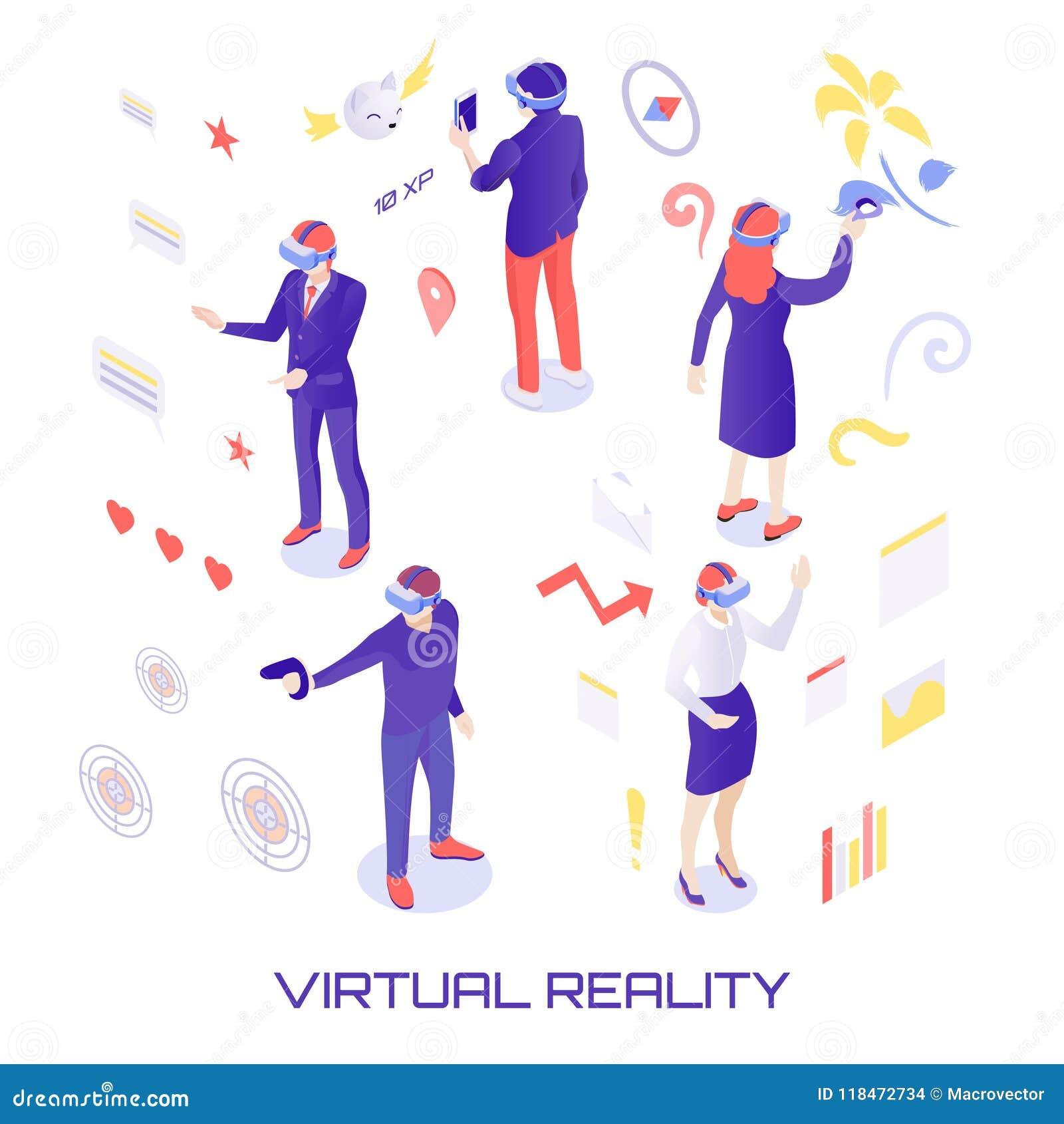 Virtual World Isometric Illustration