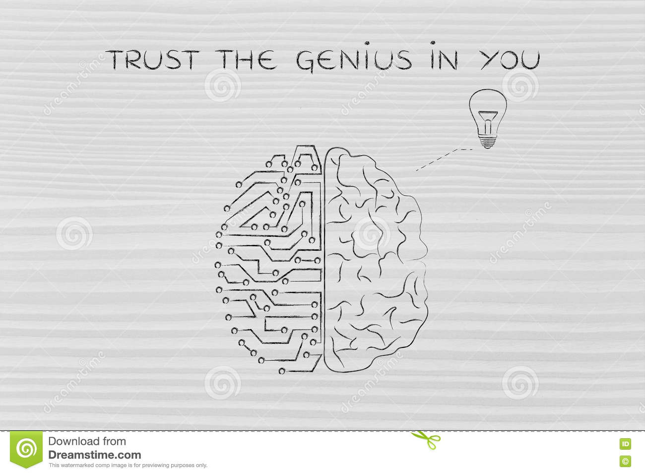 Human and circuit brain having an idea, trust the genius in you