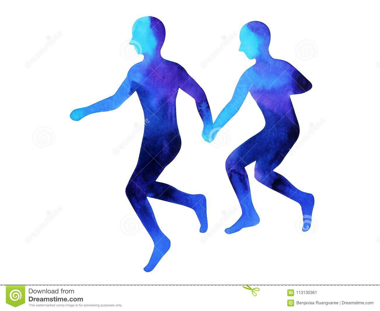 2 Human Couple Hand Holding Running Together Pose Abstract Body