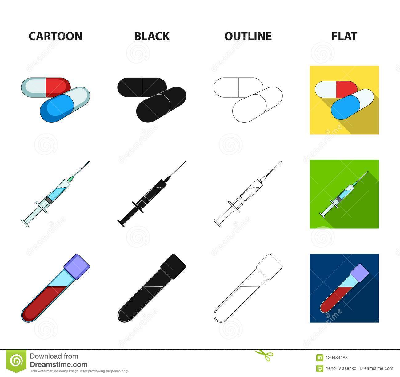 Human Dna And Other Equipmentdicine Set Collection Icons In