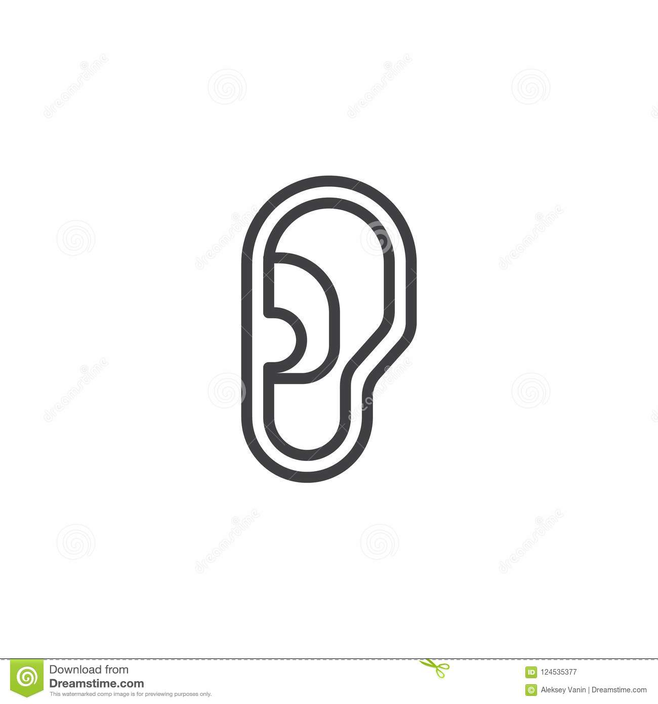 human ear outline icon stock vector illustration of sound 124535377