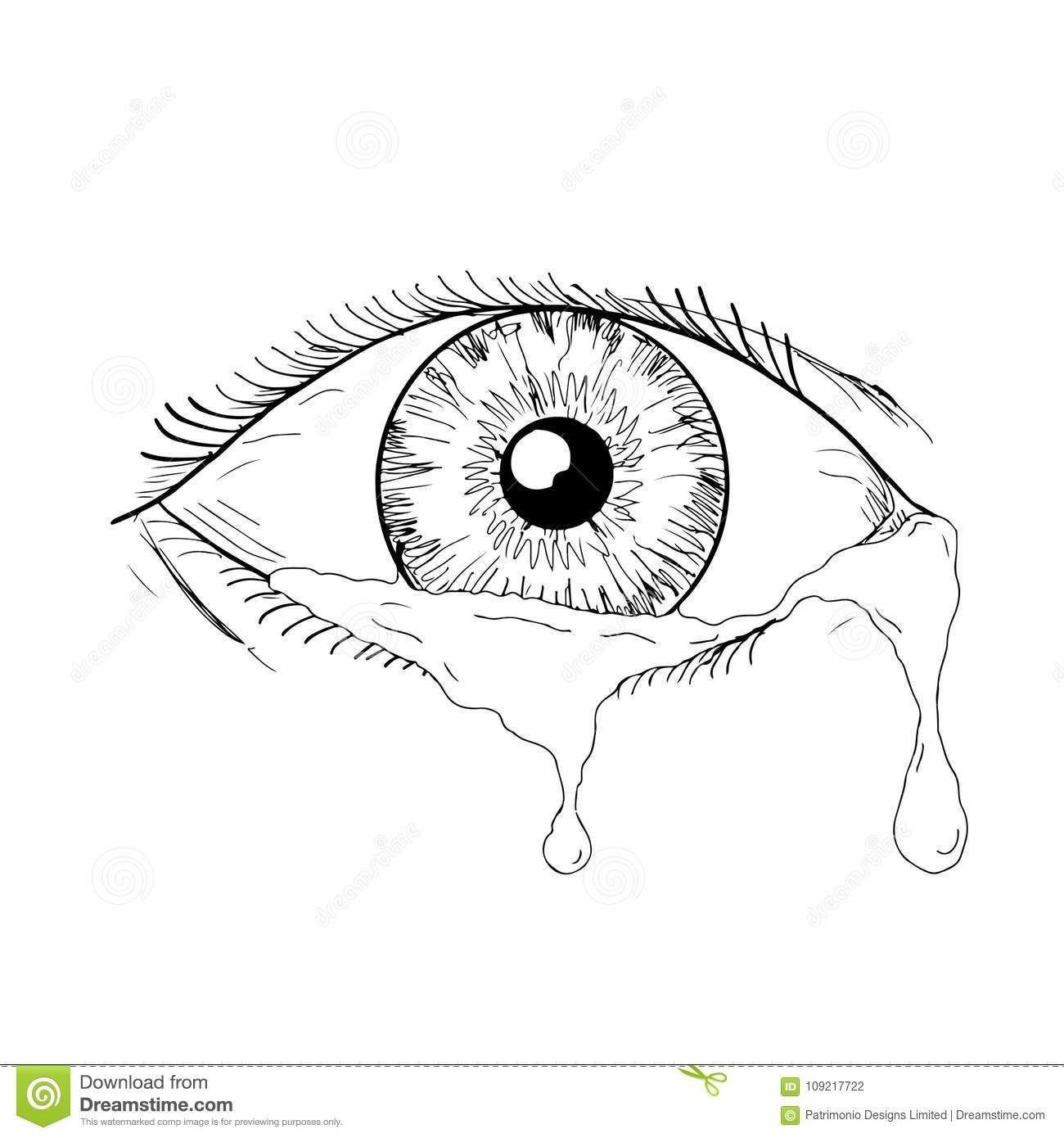 human eye crying tears flowing drawing stock vector