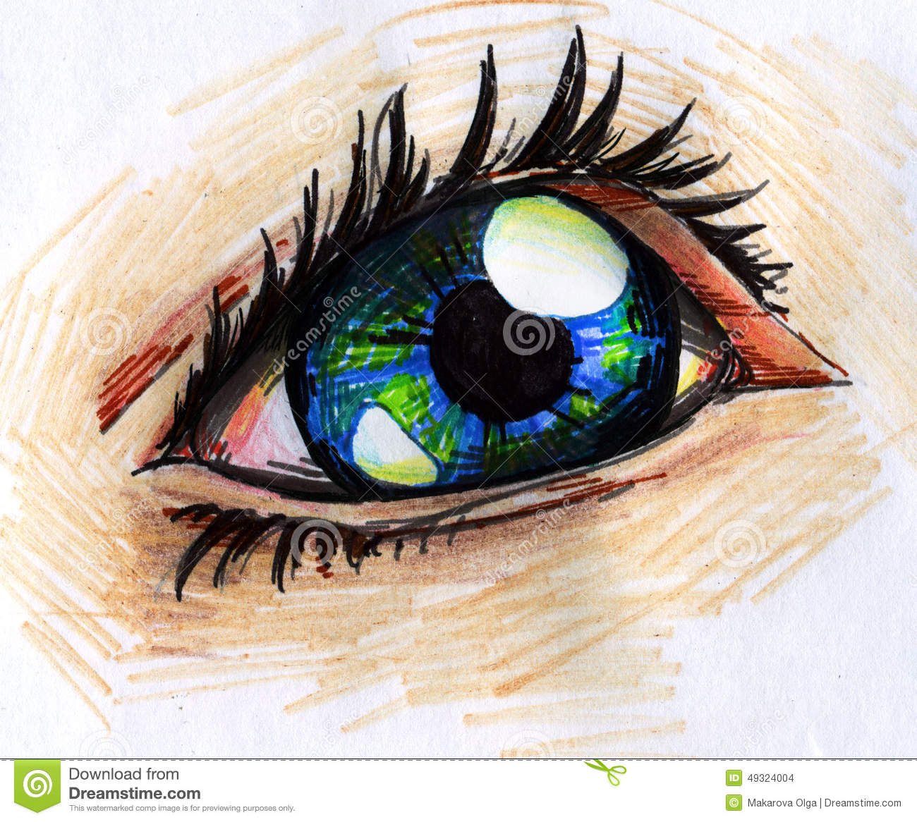 Human Eye Pencil Sketch Stock Illustration Illustration
